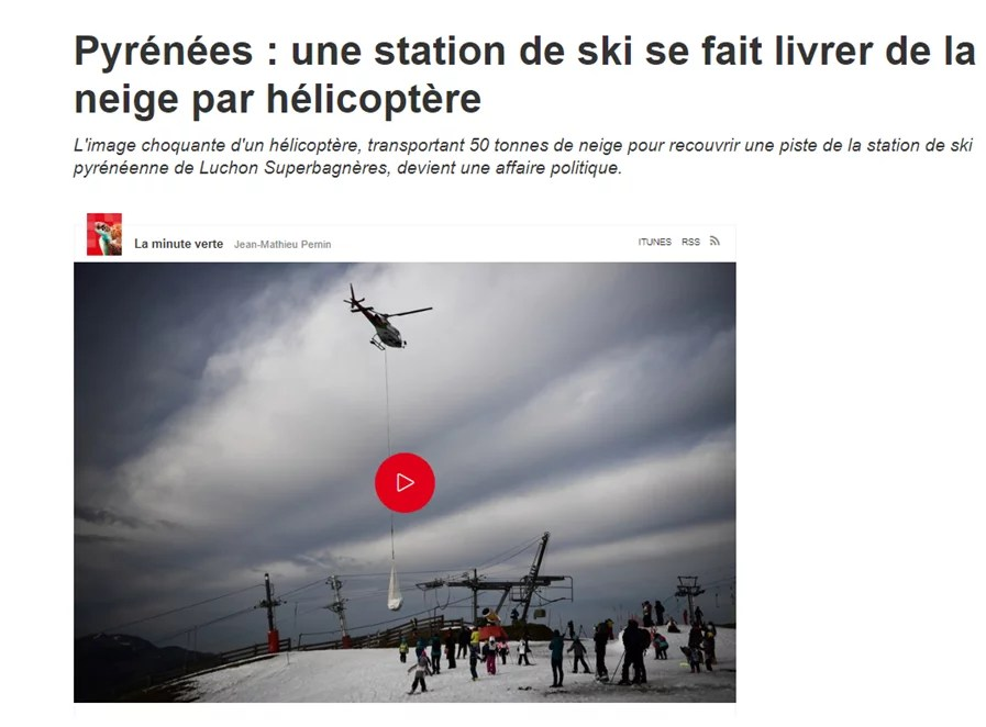 photo de l'hélico qui apporte de la neige de culture au ski