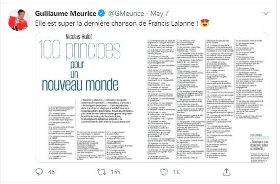 Tribune de Nicolas Hulot et l'avis de Guillaume Meurice