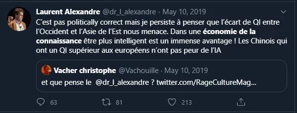 Tweet de Laurent Alexandre et l'économie de la connaissance