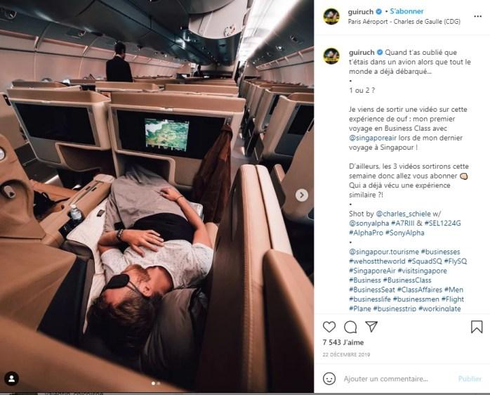 l'écolo en première classe sur Instagram