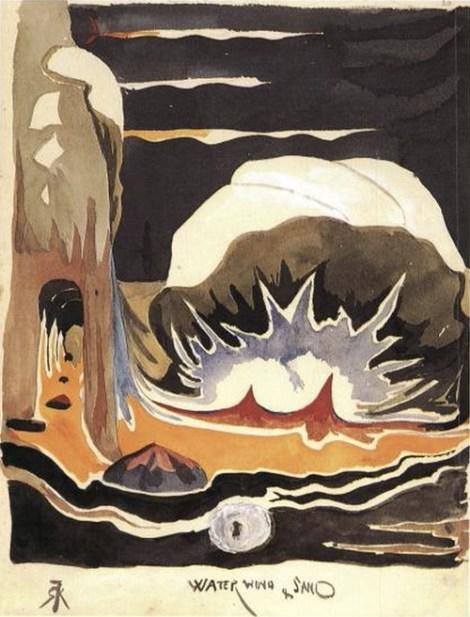'Water, Wind & Sand' Tolkien'in 1915'in başlarında 'The Book of Ishness' için yaptığı çizim.