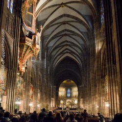 La nef de la cathédrale Notre-Dame à Strasbourg avec l'orgue en nid d'hirondelle.