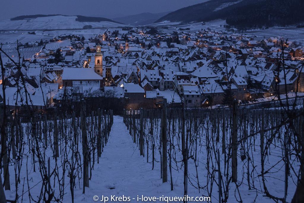 Riquewihr vu du coteau du Schoenenbourg. 31 décembre 2014.