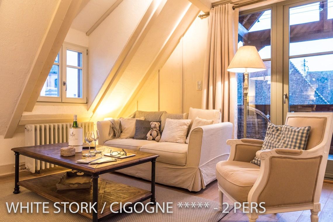 La Cigogne à riquewihr - appartement 5 étoiles le salon