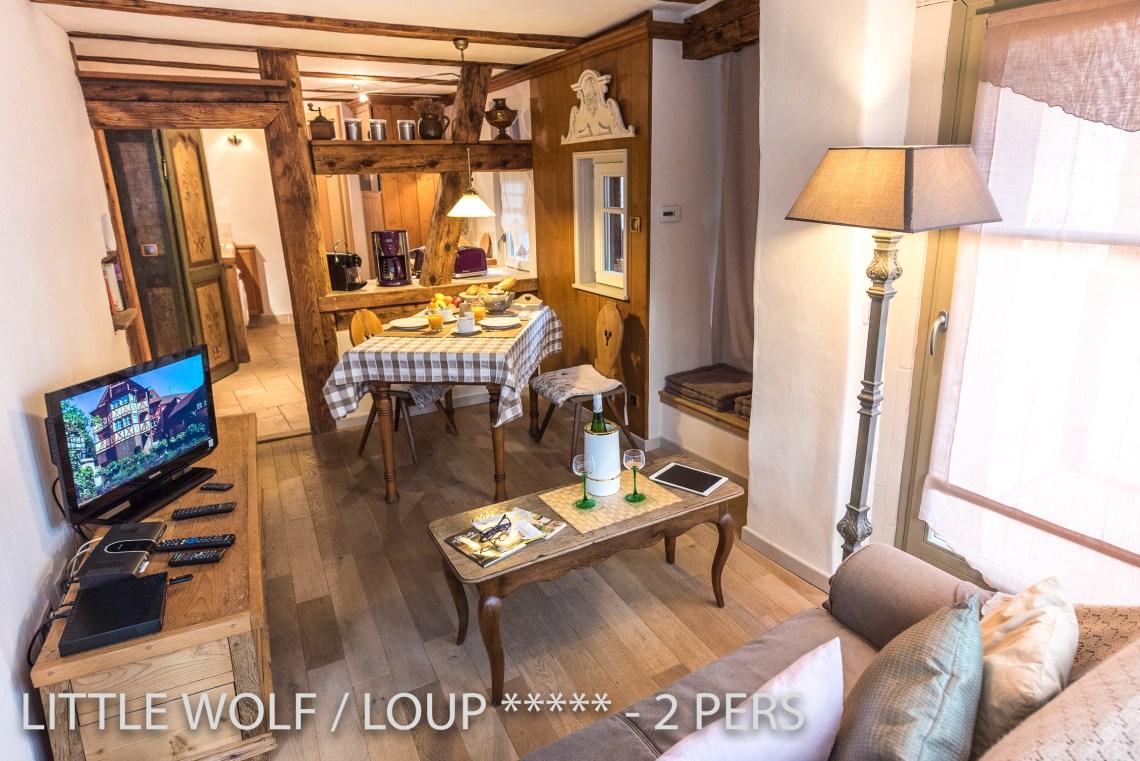 Le loup à riquewihr - appartement 5 étoiles le salon