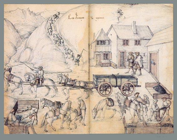Croquis illustrant le travail de la mine a l'époque. Les chevaux jouaient bien souvent le rôle des machines.