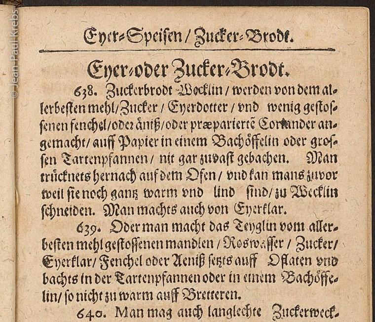 Extrait du livre de cuisine du moine Bernhardin Buchinger. Recette de petits gâteaux à l'anis et à la coriandre.