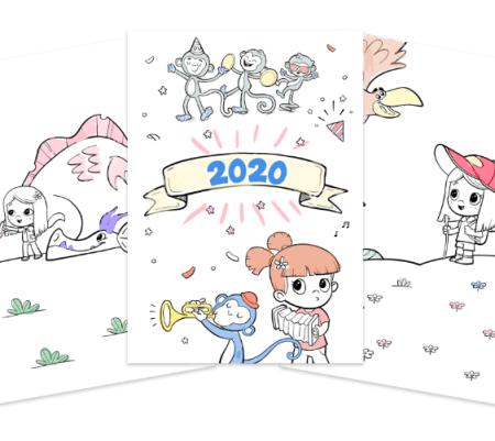 Calendrier personnalisé 2020 à colorier gratuit