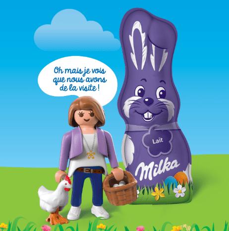 3 produits Milka Pâques = une figurine Playmobil
