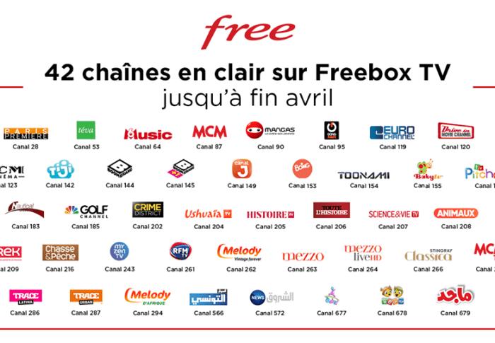 42 chaînes gratuites sur Freebox TV