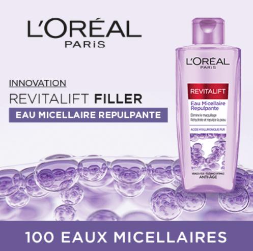 Read more about the article Test Eau Micellaire Repulpante Revitalift Filler à l'Acide Hyaluronique Pur de L'Oréal Paris.