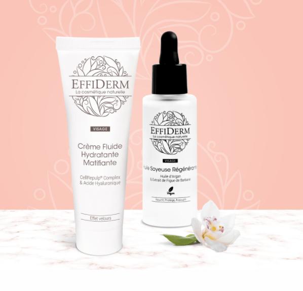 Read more about the article Test la Crème Fluide Hydratante Matifiante et l'Huile Soyeuse Régénérante EFFIDERM®.