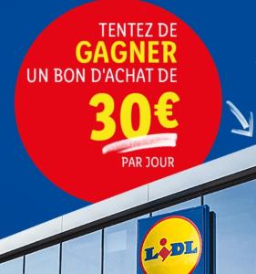 Concours : 363 bons d'achat LIDL d'une valeur de  30 euros à gagner