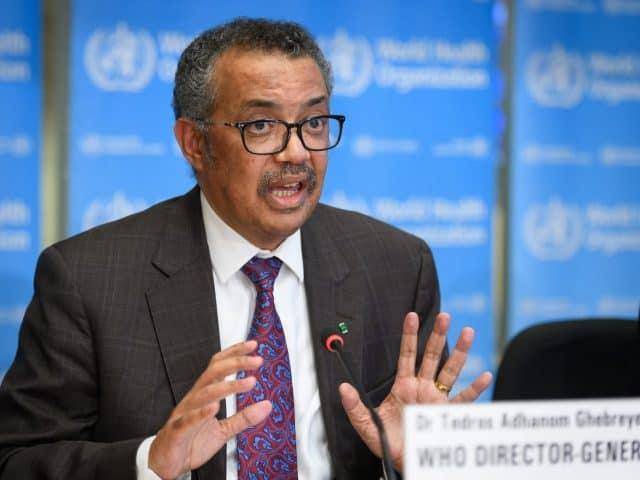 Direktur Jenderal WHO dr Tedros Adhanom Ghebreyesus mengatakan bahwa tiga vaksin virus Korona telah masuk dalam tahap uji coba (FABRICE COFFRINI / AFP)