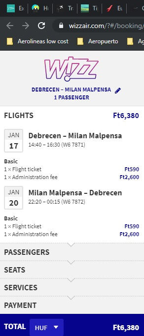 Screenshot debrecen milan ticket