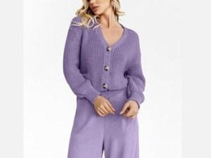 Вязаный костюм женский с брюками купить