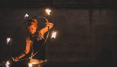 woman playing fire dance