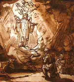 rembrandt-angel-shepherds300x329