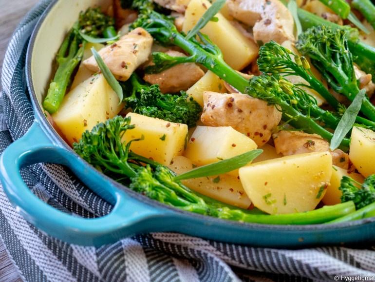 Enkle, forholdsvis raske retter som smaker skikkelig godt er alltid en slager. Som en ekstra bonus trenger du bare en panne/gryte så det blir nesten ikke oppvask heller. Denne gryteretten med kylling, poteter, løk og broccoli i sennepssaus kan fort bli en favoritt i en travel hverdag.