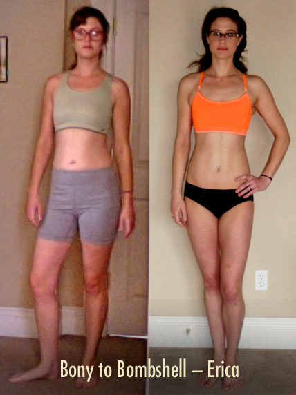 Before and after photo showing a woman going from skinny-fat to lean and muscular.