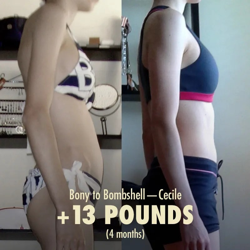 Before and after progress photos of a woman building muscle and gaining weight by lifting weights.