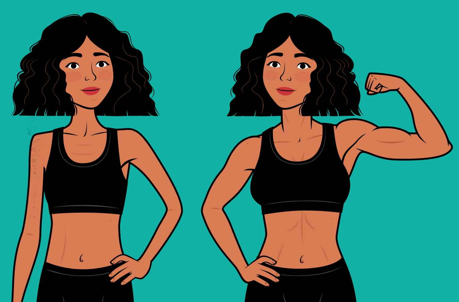 The results of a skinny woman building muscle.