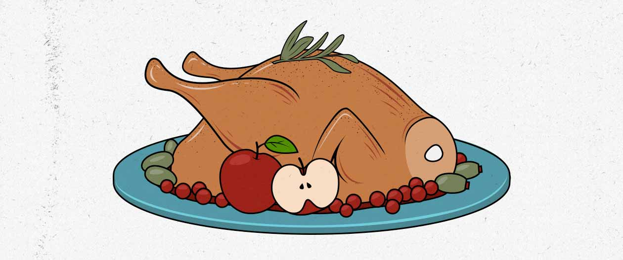 Illustration of a roast turkey—a great source of protein for building muscle.