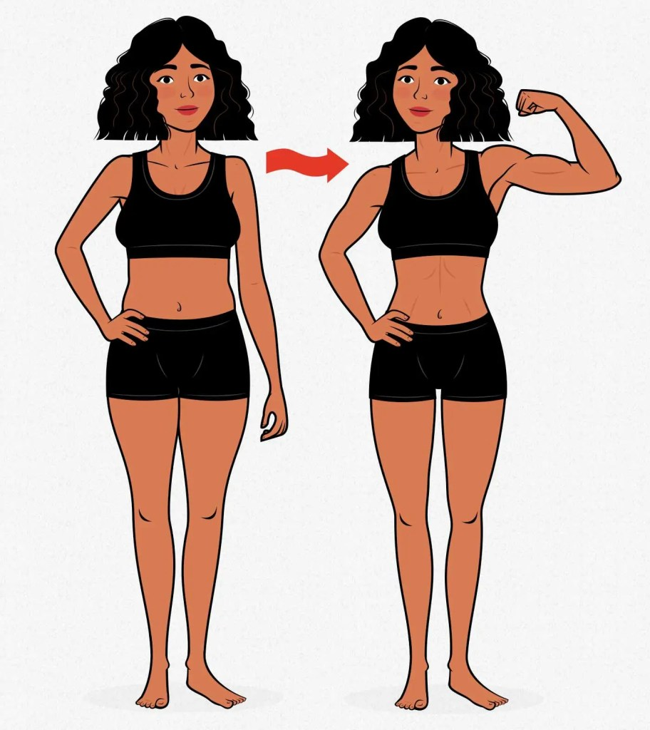 Before and after illustration showing a skinny-fat woman becoming lean and strong.