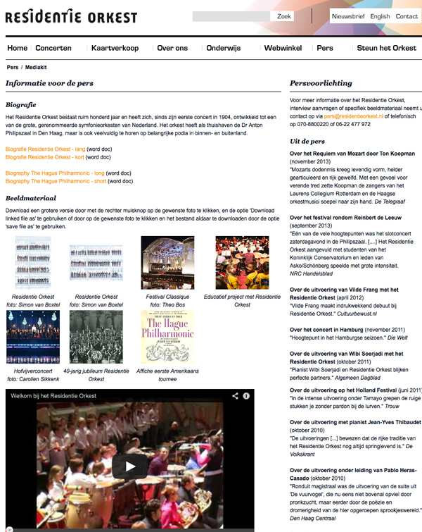 Media kit residentie orkest