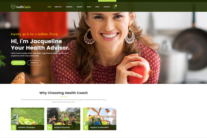 health coach super website templates voor vrouwen