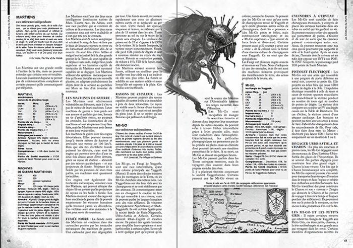 Extrait du manuel du gardien pour L'Appel de Cthulhu 7e édition
