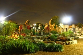 coral castle at night