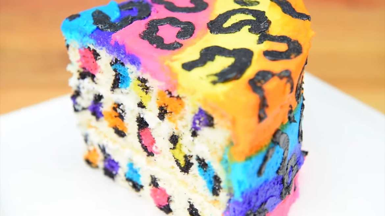 rainbow leopard cake