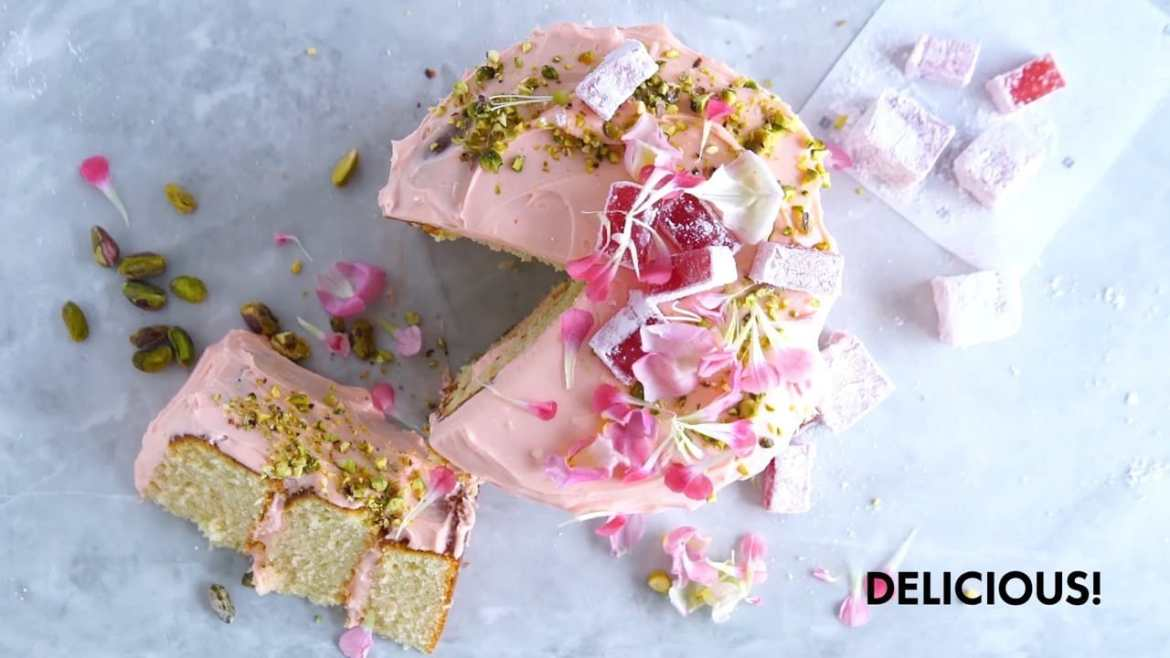rose and pistachio layer cake