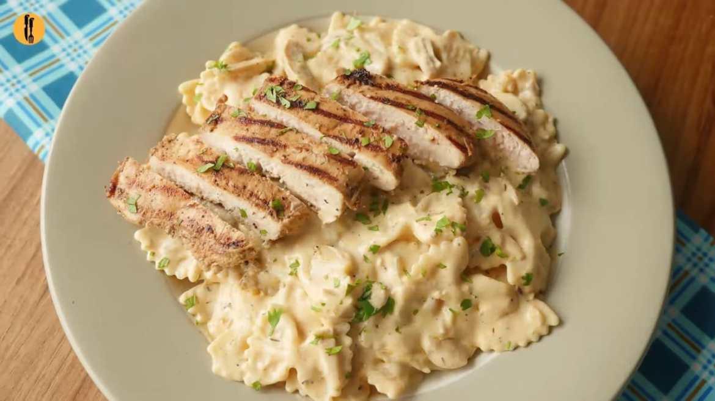 Creamy Mushroom Pasta with chicken Recipe