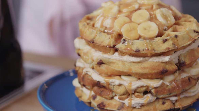 Caramel Banana Waffle Cake Recipe