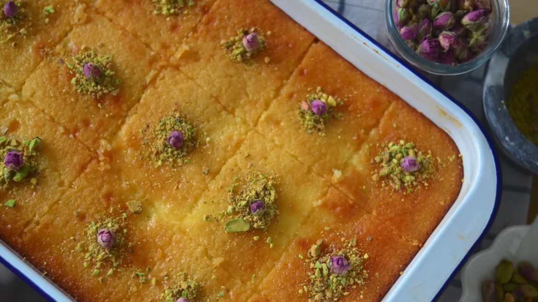 Basbousa Cake With Cream Filling