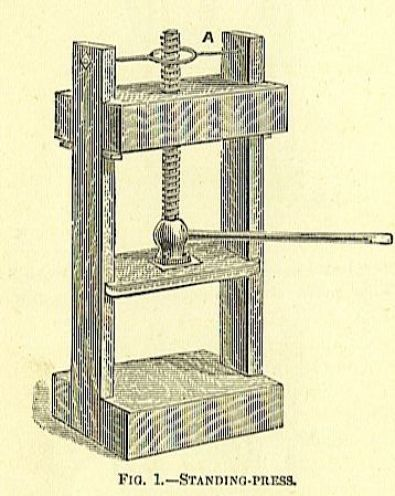 large standing wood book press