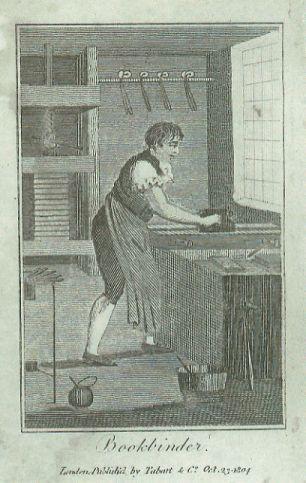 bookbinding, bookbinder at the plough