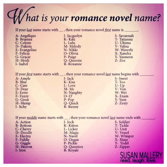 Whats Your Romance Novel Name Book Binge