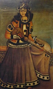 persian girl playing sitar 19thC persia V&A