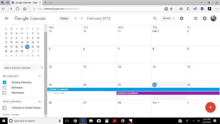 Google Calendar in month view.