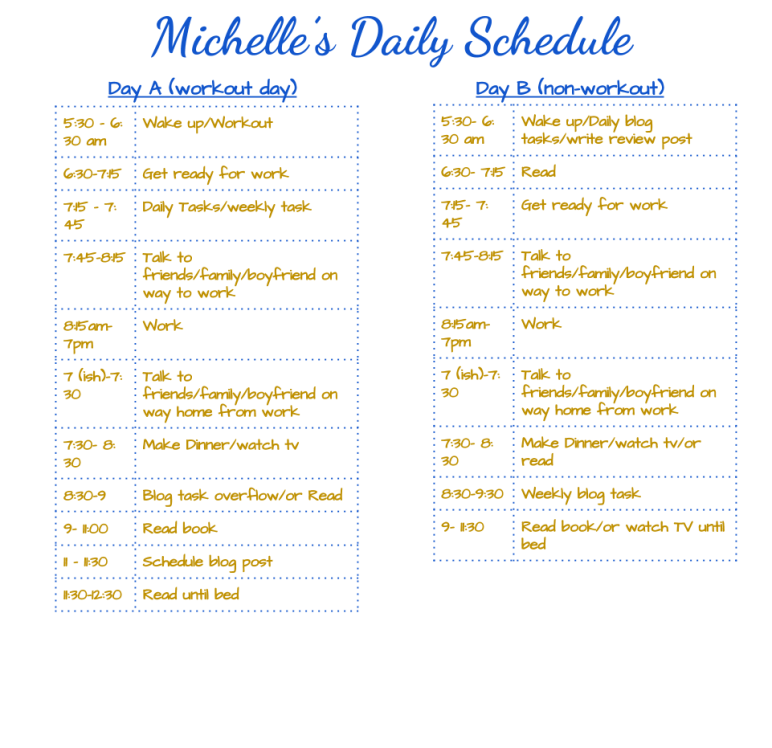 Michelles Daily Schedule Template