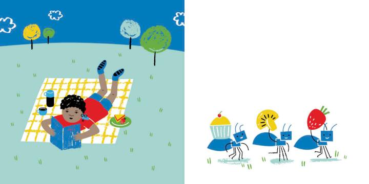 A boy lies on a picnic blanket reading a book. The ants carry away his picnic food.