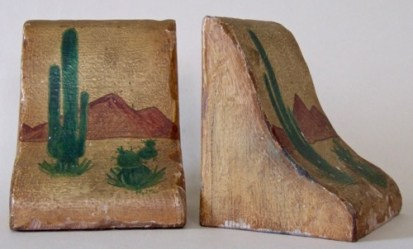 Sonoran Scene: Wood. Height: 5.5 inches. Signed M.M. Twentieth century folk art likely.