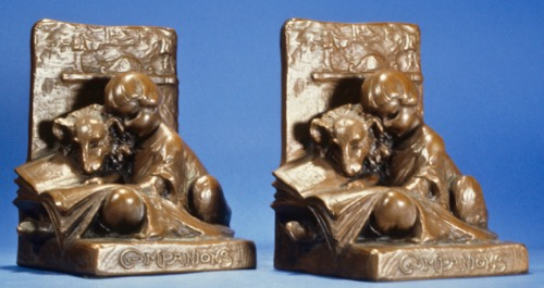 "Companions: 7"", bronze plating on gray metal. Shopmark WB. Circa 1920. DaCosta Collection"