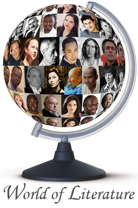 Globe showing images of authors from around the word