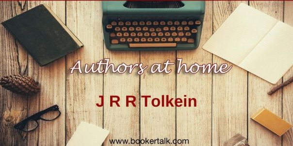 Image of old fashioned typewriter surrounded by books, text says authors at home and JRR Tolkein
