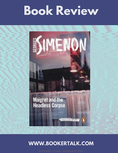 Cover of Maigret and the Headless Corpse by George Simenon, showing. a view through the window of a bistro