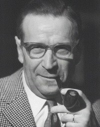 Black and white photo of Georges Simenon, author of the Inspector Maigret series